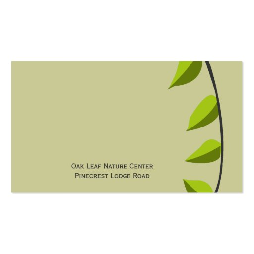 Garden Leaf Gardening   Green Business Card Template (back side)