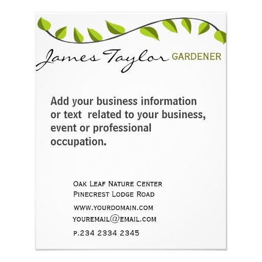 Garden Leaf Gardening Green Flyer Zazzle