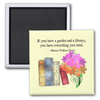 GARDEN & LIBRARY 2 INCH SQUARE MAGNET