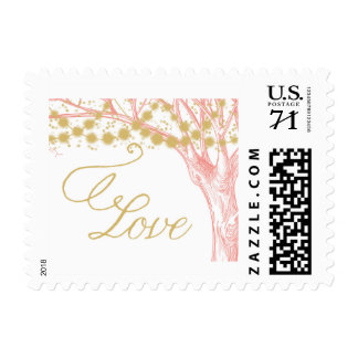 Garden lights on tree postage stamp