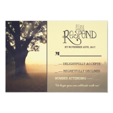 jinaiji Garden lights tree rustic wedding RSVP Card