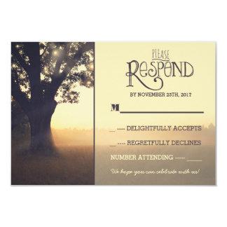 Garden lights tree rustic wedding RSVP Invitation