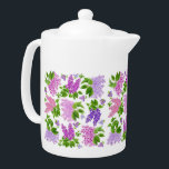 """Garden Lilac Flowers Teapots<br><div class=""""desc"""">Original fine art design of elegant Spring lilac flowers by artist Carolyn McFann of TPC Studio printed on a quality teapot for floral art fans.     See a few of our products below (click to go to that product) and visit our very artistic stores at:</div>"""