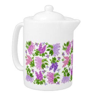 Garden Lilac Flowers Teapots at Zazzle