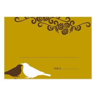 Garden love birds brown wedding escort place card