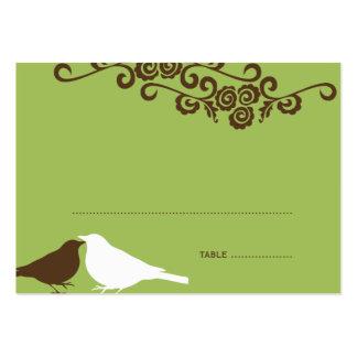 Garden love birds green wedding escort place card