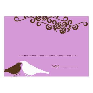 Garden love birds purple wedding escort place card