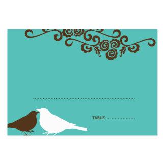 Garden love birds teal wedding escort place card