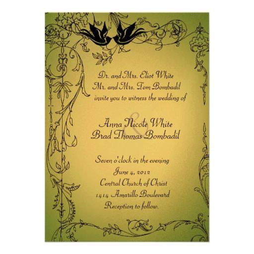 Garden Lovebirds Wedding Invitation