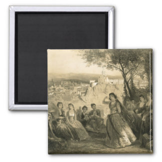 Garden near Tiflis, Georgia, plate 27 from a book 2 Inch Square Magnet
