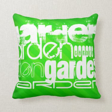 Garden; Neon Green Stripes Throw Pillows
