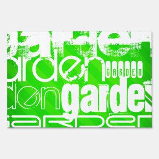Garden; Neon Green Stripes Lawn Signs