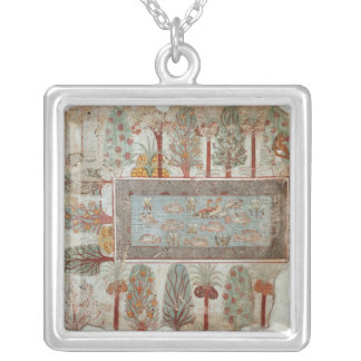 Garden of a private estate with an ornamental silver plated necklace