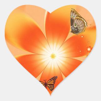 Garden of Butterflies Heart Sticker