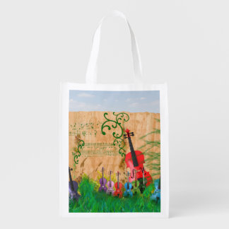 Garden of Colorful Violins Reusable Grocery Bag