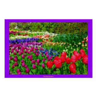 Garden of Cubism Design Floral Flowers Xmas Gift Print