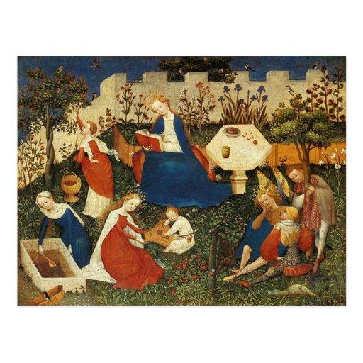 Garden of Eden medieval art Postcard