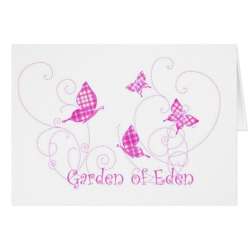 Garden of Eden Plaid Butterflies Greeting Cards