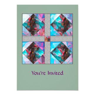 Garden of Eden Square Blue & Rose Mosaic Card
