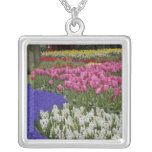 Garden of grape hyacinth, hyacinth and tulips, square pendant necklace