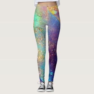 GARDEN OF LOST SHADOWS,MAGIC BUTTERFLY PLANT Blue Leggings