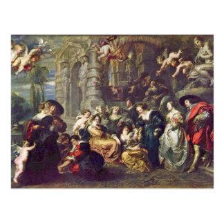 Garden Of Love By Rubens Peter Paul (Best Quality) Postcard