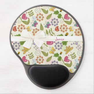 Garden of Love Hearts and Flowers Gel Mousepad