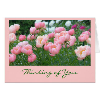 GARDEN OF PINK PEONIES STATIONERY NOTE CARD