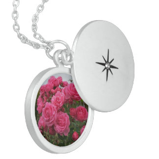 Garden Of Pink Roses, Sterling Silver Round Locket