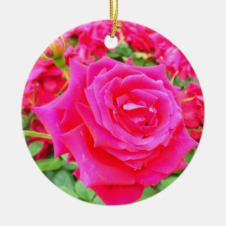 Garden of Roses Double-Sided Ceramic Round Christmas Ornament
