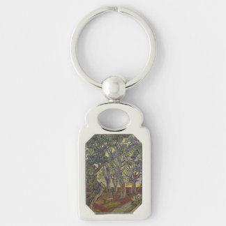 Garden of Saint Paul's Hospital Vincent Van Gogh Silver-Colored Rectangle Keychain