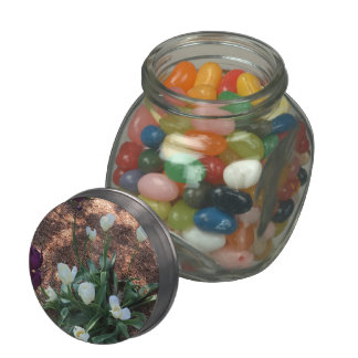 Garden of snow white tulip flowers jelly belly candy jar