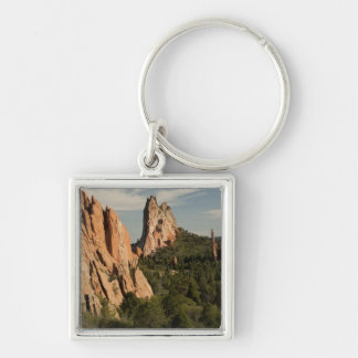 Garden of the Gods Historic Site Silver-Colored Square Keychain