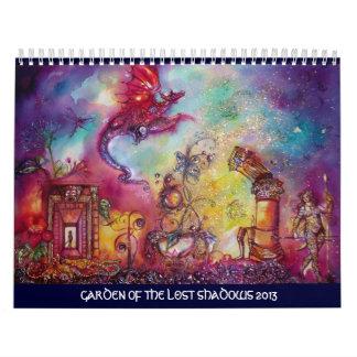 GARDEN OF THE LOST SHADOWS -2013 FLYING RED DRAGON WALL CALENDAR