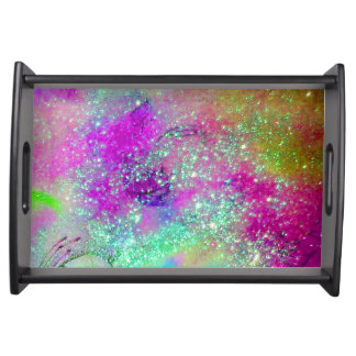 GARDEN OF THE LOST SHADOWS BLUE PURPLE PINK FLORAL SERVING TRAY