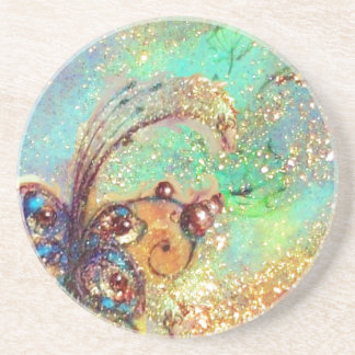 GARDEN OF THE LOST SHADOWS -BUTTERFLY PLANT blue Beverage Coasters