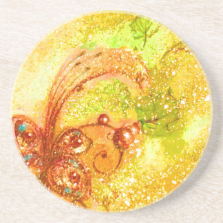 GARDEN OF THE LOST SHADOWS -BUTTERFLY PLANT yellow Beverage Coasters