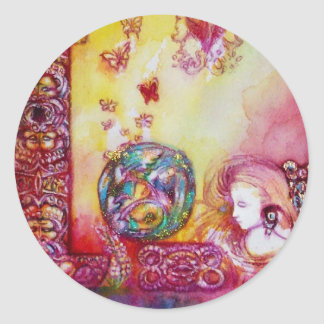 GARDEN OF THE LOST SHADOWS -FAERY AND BUTTERFLIES CLASSIC ROUND STICKER