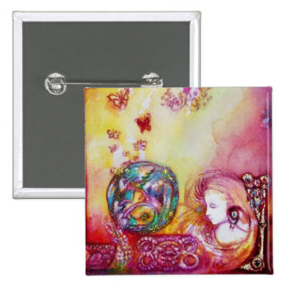 GARDEN OF THE LOST SHADOWS -FAIRY AND BUTTERFLIES 2 INCH SQUARE BUTTON