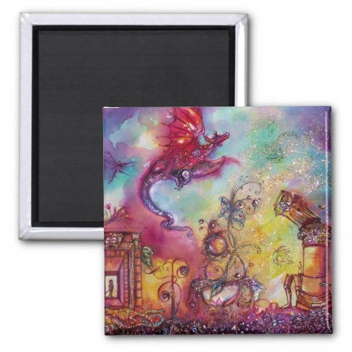 GARDEN OF THE LOST SHADOWS / FLYING RED DRAGON 2 INCH SQUARE MAGNET
