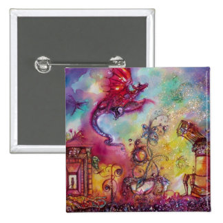 GARDEN OF THE LOST SHADOWS -FLYING RED DRAGON 2 INCH SQUARE BUTTON