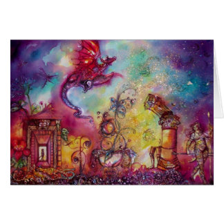 GARDEN OF THE LOST SHADOWS -FLYING RED DRAGON GREETING CARD