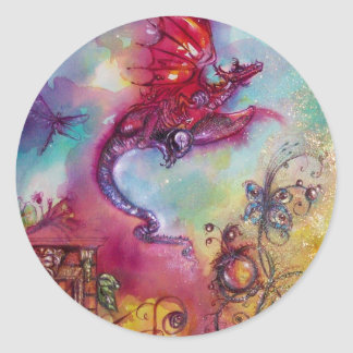 GARDEN OF THE LOST SHADOWS - FLYING RED DRAGON CLASSIC ROUND STICKER