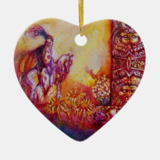 GARDEN OF THE LOST SHADOWS- KNIGHT AND FAIRY Heart Ceramic Ornament
