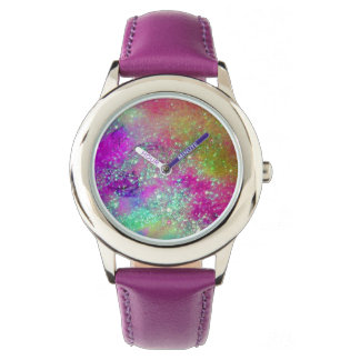 GARDEN OF THE LOST SHADOWS - Pink Purple Aqua Blue Wrist Watch
