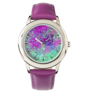 GARDEN OF THE LOST SHADOWS Pink Purple Aqua Blue Wristwatch