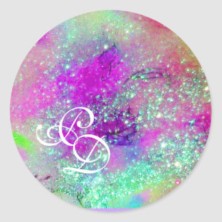 GARDEN OF THE LOST SHADOWS Pink Purple Blue Floral Classic Round Sticker