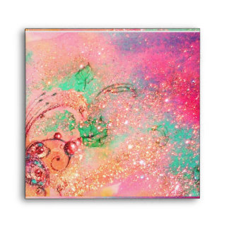GARDEN OF THE LOST SHADOWS  pink red fuchsia green Envelope