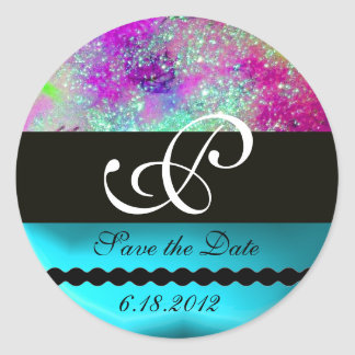 GARDEN OF THE LOST SHADOWS -SAVE THE DATE MONOGRAM CLASSIC ROUND STICKER