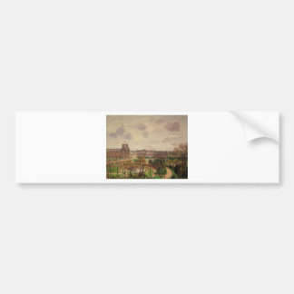 Garden of the Louvre Morning, Grey Weather Bumper Sticker